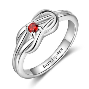 Promise Rings - Celtic Knot Rhodium Plated Womens Ring - 1 Birthstone & Engraving