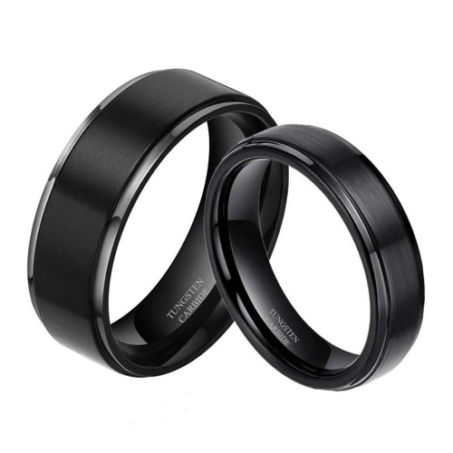 Promise Rings - Classic Black Couples Rings - 2 Engravings (Set/2Pc)