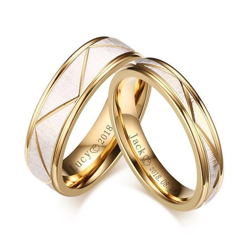 Promise Rings - Personalized Gold Color Stainless Steel Couples Rings