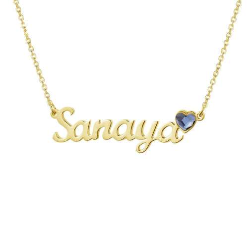 Necklaces - Personalized Name Necklace With Heart Birthstone