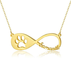 Necklaces - Cute Pet Paw Infinity Necklace With Personalized Name (3 colors)