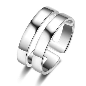 Promise Rings - 9mm Double Band Silver Stainless Steel + 2 Name Engravings