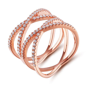 Promise Rings - Double Cross Rose Gold 925 Sterling Silver Womens Ring