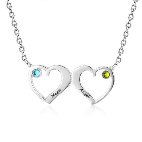 Necklaces - Double Heart Women's Necklace - 2 Birthstones + 2 Engravings