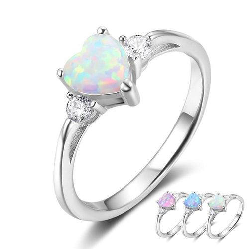 Promise Rings - Eternal Opal Heart 925 Sterling Silver Womens Ring (3 Colors)