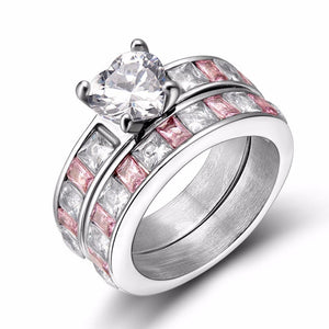 Promise Rings - Eternity Heart Cubic Zirconia Pink Womens Ring