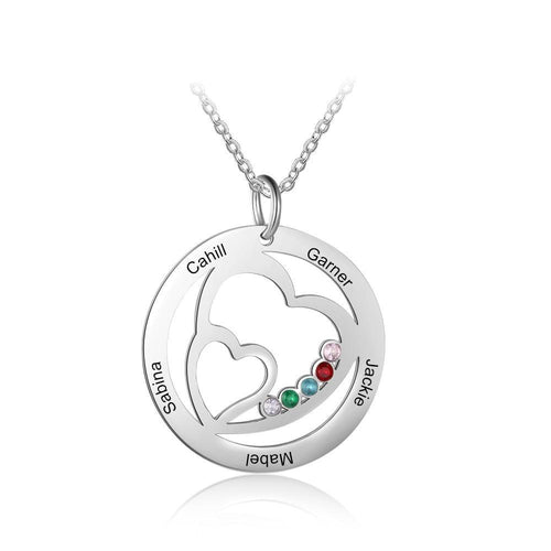 Necklaces - Family & Friends Personalized Names Necklace - 5 Birthstones + 5 Engravings
