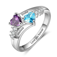 Promise Rings - Personalized 925 Sterling Silver Womens Ring - 2 Birthstones + 3 Engravings