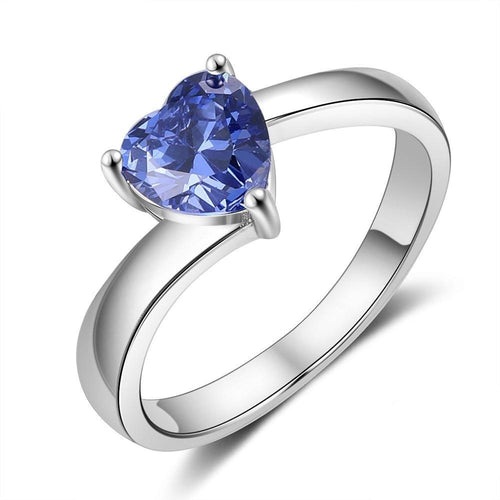 Promise Rings - Heart Blue Cubic Zirconia 925 Sterling Silver Womens Ring