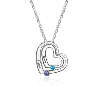 Necklaces - Hearts 925 Sterling Silver Women's Necklace - 2 Birthstones + 2 Engravings