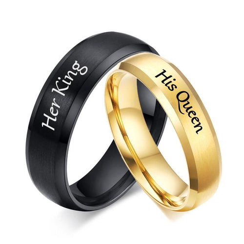 Promise Rings - Her King and His Queen Couples Rings