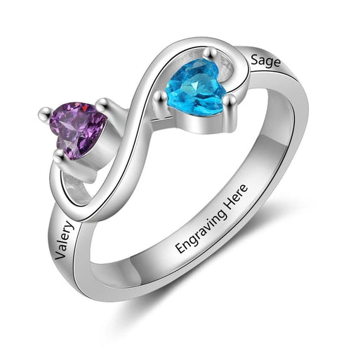 Promise Rings - Infinity 925 Sterling Silver Womens ring - 2 Heart Birthstones & 3 Engravings