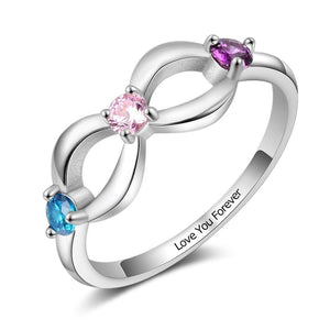 Promise Rings - Infinity 925 Sterling Silver Womens Ring - 3 Birthstones & 1 Engraving