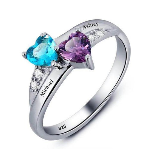 Promise Rings - Lovers 2 Heart Birthstones + 3 Engravings 925 Sterling Silver