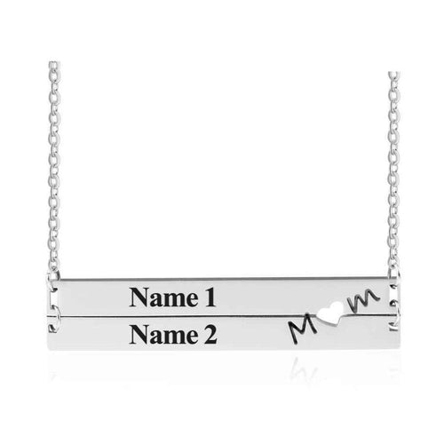 Necklaces - Mom Heart Personalized Names Bar Necklace