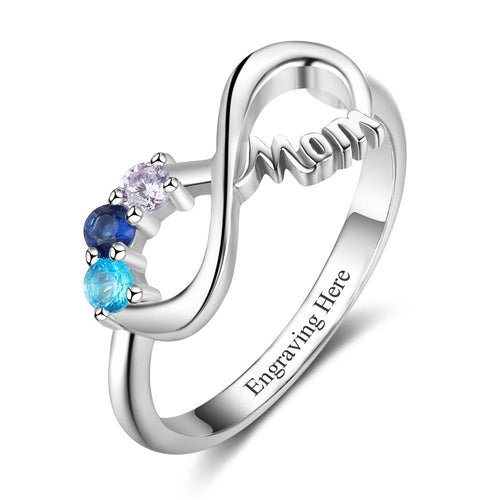 Promise Rings - Mom Infinity 925 Sterling Silver Women's Ring - 3 Birthstones & 1 Engraving