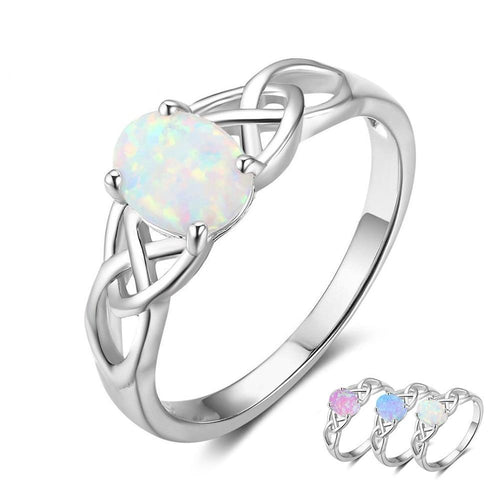 Promise Rings - Oval Opal 925 Sterling Silver Braided Celtic Women's Ring