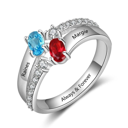 Promise Rings - Oval Stones 925 Sterling Silver Womens Ring - 2 Birthstones & 1 Engraving