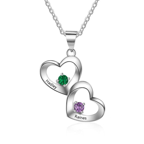 Necklaces - Paired Hearts 925 Sterling Silver Women's Necklace - 2 Birthstones + 2 Engravings