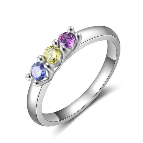 Promise Rings - Personalize Birthstones Silver Womens Ring - 3 Birthstones