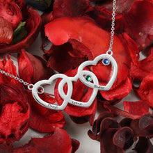 Necklaces - Personalized 3 Linked Hearts 925 Sterling Silver Necklace - 3 Engravings + 3 Birthstones