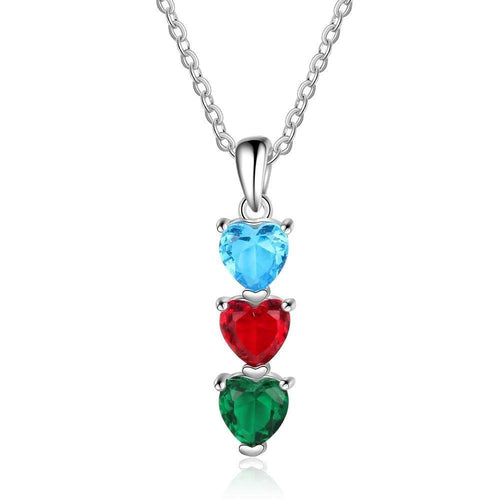 Necklaces - Personalized 3 Tier Hearts Necklace - 3 Birthstones