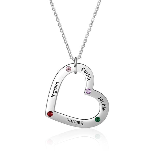 Necklaces - Personalized 4 Names Heart Necklace - 4 Engravings + 4 Birthstones