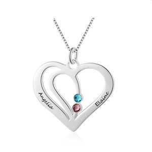 Necklaces - Personalized 925 Sterling Silver Heart Necklace  - 2 Names & 2 Birthstones