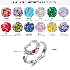 Promise Rings - Personalized 925 Sterling Silver Heart Ring - 2 Birthstones & 3 Engravings