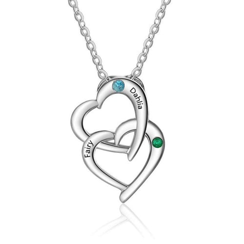 Necklaces - Personalized 925 Sterling Silver Interlocking Hearts Necklace - 2 Engravings + 2 Birthstones