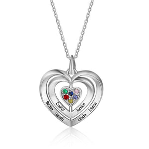 Necklaces - Personalized 925 Sterling Silver Women's Necklace - 6 Birthstones + 6 Engravings