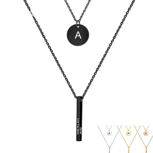 Necklaces - Personalized A-Z Letter Initial Vertical Bar Necklace - 1 to 4 Bar Engravings (Optional)