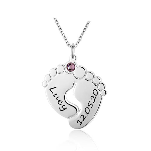 Necklaces - Personalized Baby Feet 925 Sterling Silver Necklace - 2 Engravings & 1 Birthstone