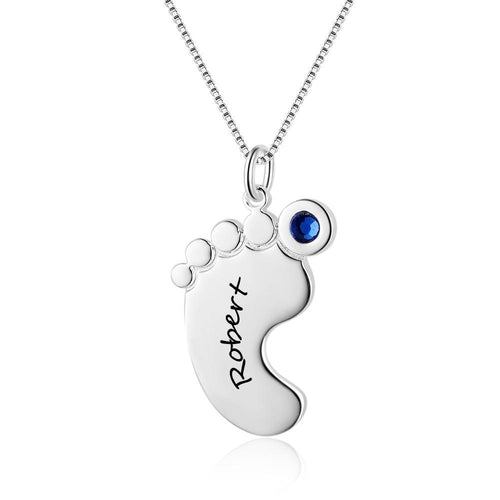 Necklaces - Personalized Baby Foot 925 Sterling Silver Necklace - 1 Engraving & 1 Birthstone