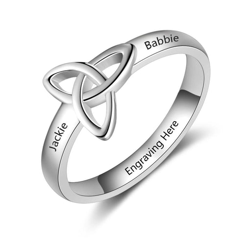 Promise Rings - Personalized Celtic Trinity Knot Womens Ring - 3 Engravings