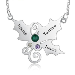 Necklaces - Personalized Christmas Holly Mistletoe Necklace - 2 to 4 Birthstones & Engravings