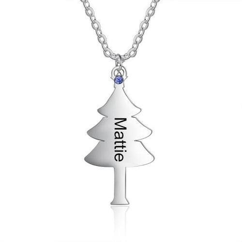 Necklaces - Personalized Christmas Tree Family/Friends Necklace - 1 Birthstone & Engraving