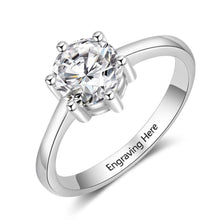 Promise Rings - Personalized Cubic Zirconia 925 Sterling Silver Womens Ring - 1 Engraving