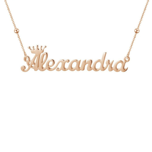 Necklaces - Personalized Cursive Font Name Necklace With Crown (3 colors)