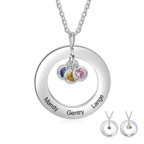 Necklaces - Personalized Dangling Birthstones Circle Necklace - 1-3 Birthstones & Engravings