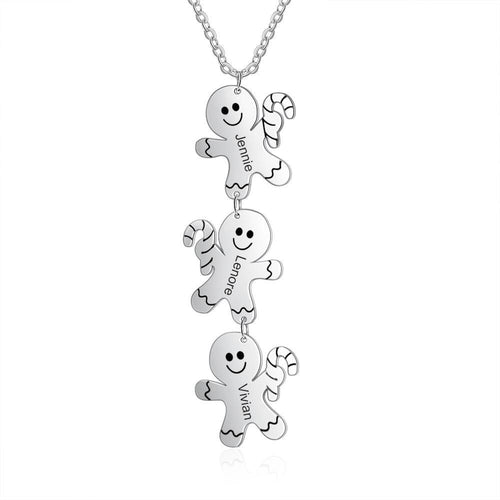 Necklaces - Personalized Christmas Gingerbread Men Necklace - 3 Engravings
