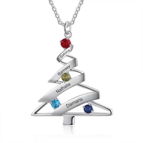 Necklaces - Personalized Christmas Tree Necklace - 1 to 4 Birthstones & Engravings