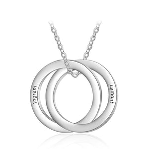Necklaces - Personalized Double Circles Silver Necklace - 2 Engravings