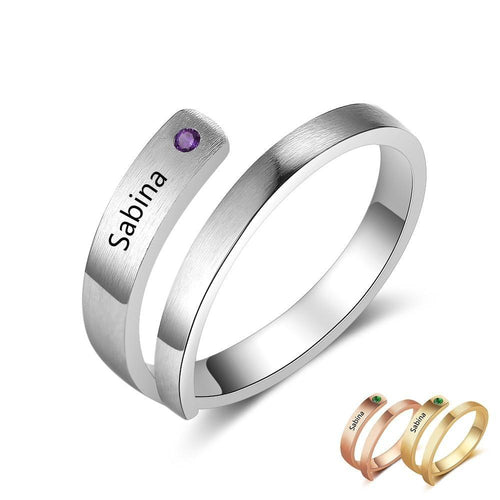 Promise Rings - Personalized Engraved Name & Birthstone Adjustable Wrap Ring (3 colors)