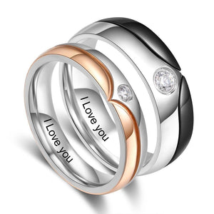 Promise Rings - Personalized Engraved Stainless Steel with Zirconia Couple Rings