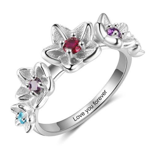 Promise Rings - Personalized Flower Birthstones & Engraving 925 Sterling Silver Ring