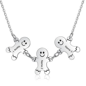 Necklaces - Personalized Gingerbread Men Family/Friends Names - 3 Engravings
