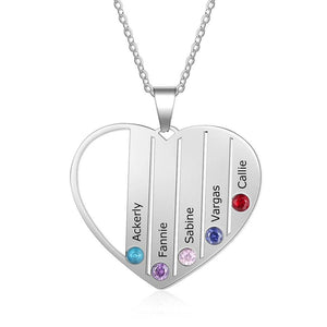 Necklaces - Personalized Heart Family Name Necklace - 5 Birthstones + 5 Engravings