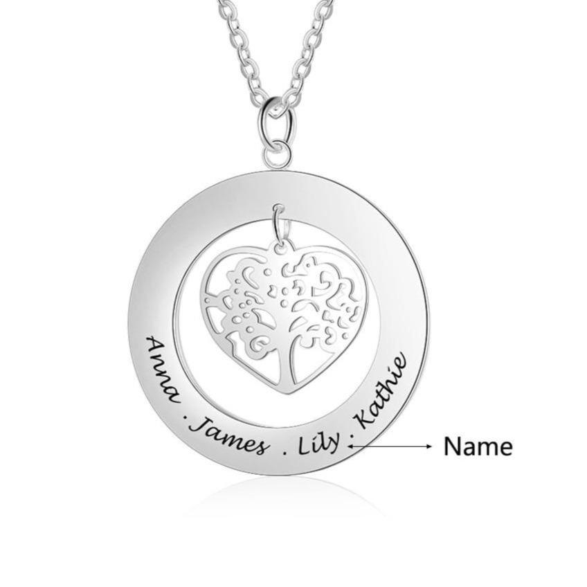 Necklaces - Personalized Heart Tree of Life 925 Sterling Silver Necklace - 1 to 4 Names Engraved