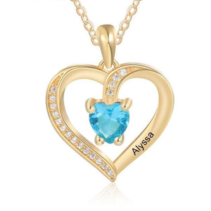 Necklaces - Personalized Heart Women's Necklace - 1 Birthstone + 1 Engravings (2 colors)